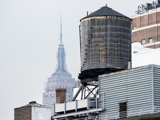 Water Tower With Empire State Building