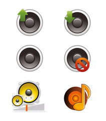 Set of Speaker and Volume Icons