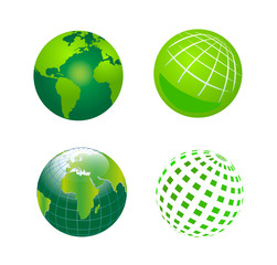 Set of Vector Green Globe Icons