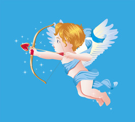 Valentine's Day Cupid Vector Illustration on Blue Blackground