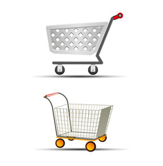 Vector Illustration of Two Shopping Trolley or Shopping Cart