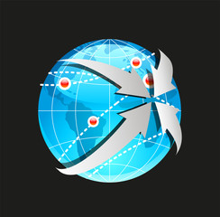 Vector Globe and Arrows on White Background