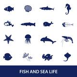fish and sea life icons set eps10