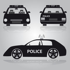 police car from front, back and side view eps10