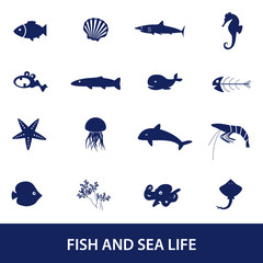 fish and sea life icons set eps10