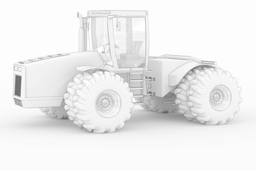 Industry Tractor III - white isolated