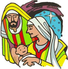 Jesus en brazos de María y Jose despues de su nacimiento