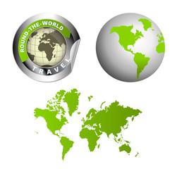 World Map Globe Vector Illustration Around the World