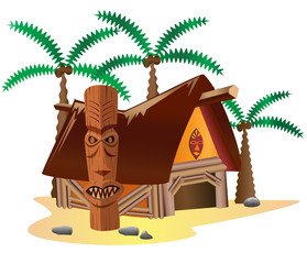 Hut with palm trees and totem