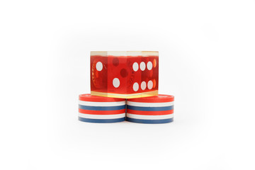 USA colored casino chips with die