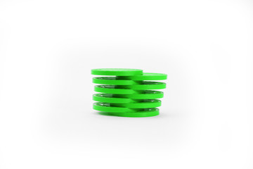 Green Shuffled Casino Poker Chips