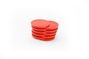 Red Shuffled Casino Poker Chips
