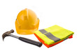 Yellow hard hat, a hammer and orange and yellow reflective vest
