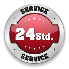 Roter 24 Stunden Service Button mit metall Rand