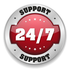 Red 24 hour support button with metallic border