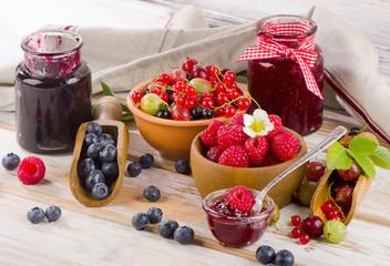 Fresh berries and jam