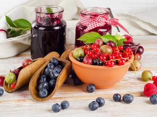 Fresh berries and jam