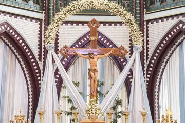 Inside of Saint mary cathedral. Yangoon. Myanmar.