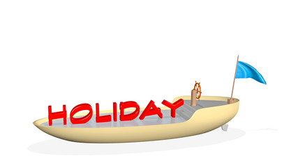 holidays on the water - 3D render illustration