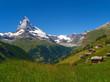canvas print picture - Saas Almagell und Matterhorn