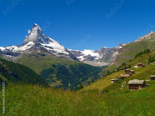 canvas print picture Saas Almagell und Matterhorn