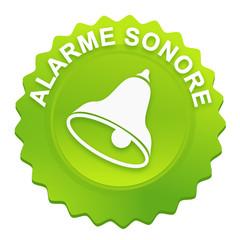 alarme sonore sur bouton web denté vert