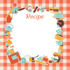 Recipe background with kitchen and restaurant utensils.