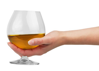 Glass goblet with brandy in hand