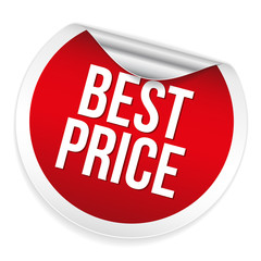 Red round best price sticker on white background