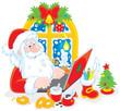 Santa Claus checking his Christmas email