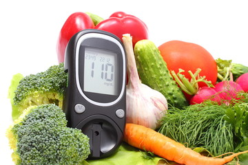 Glucose meter for glucose level and fresh vegetables