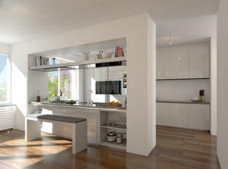 Weiße Küche mit Kochtheke