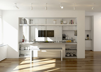 weiße Küche mit Kochinsel