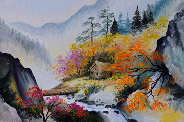 oil painting - landscape in mountains, house in the mountains