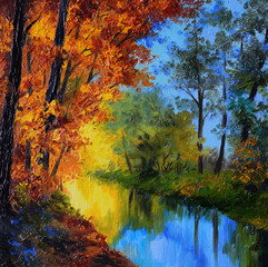 Oil Painting - autumn forest with a river