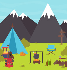 Camping in the mountains vector illustration