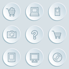 Electronics web icon set 1, white sticker buttons