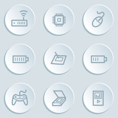 Electronics web icon set 2, white sticker buttons