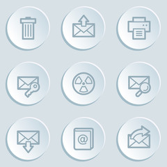 E-mail web icon set 2, white sticker buttons