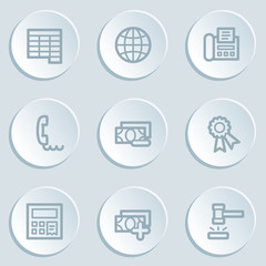 Finance web icon set 2, white sticker buttons