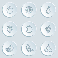 Fruits web icons, white sticker buttons