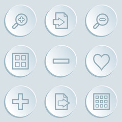 Image viewer web icon set 1, white sticker buttons