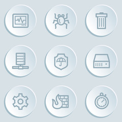 Internet security web icons , white sticker buttons