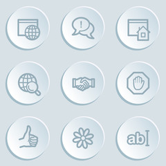 Internet web icon set 1 , white sticker buttons