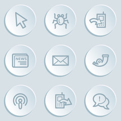 Internet web icon set 2 , white sticker buttons
