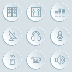 Media web icons , white sticker buttons