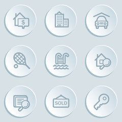Real estate web icons, white sticker buttons