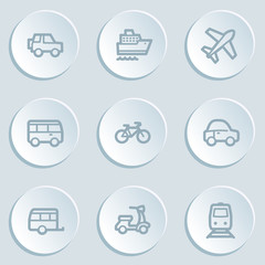 Transport web icons, white sticker buttons