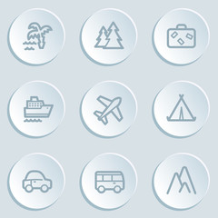 Travel  web icon set 1, white sticker buttons