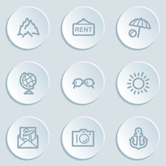Travel  web icon set 5, white sticker buttons